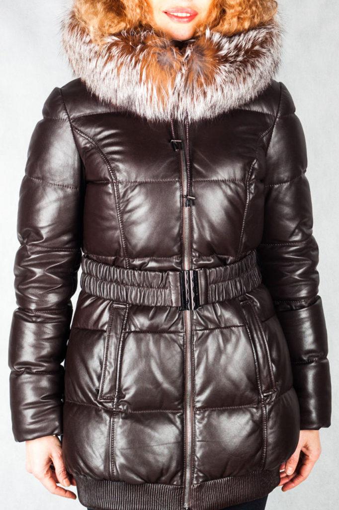 женская зимняя кожаная куртка